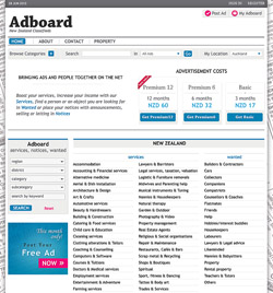 Adboard New Zealand Classifieds web design and development