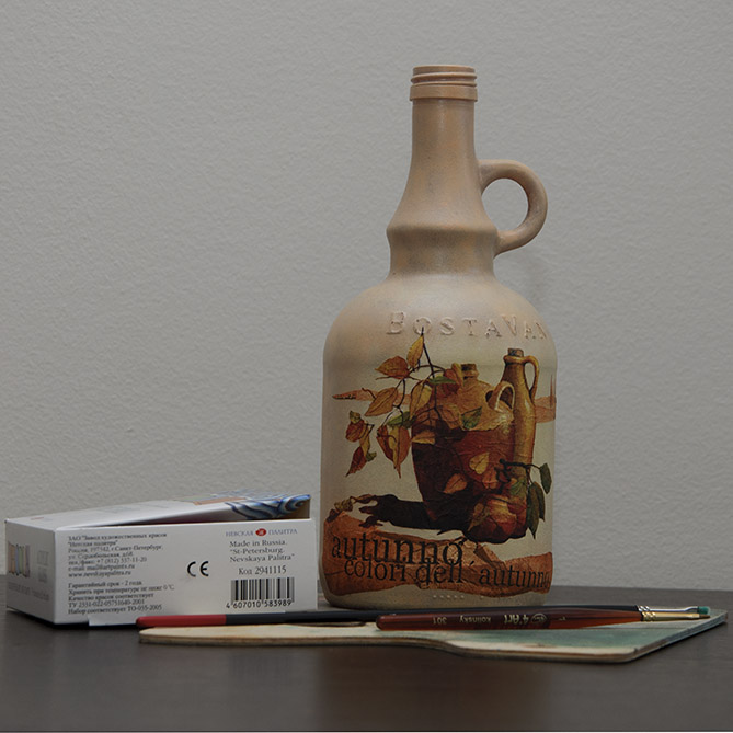 How to decoupage a bottle - finished project