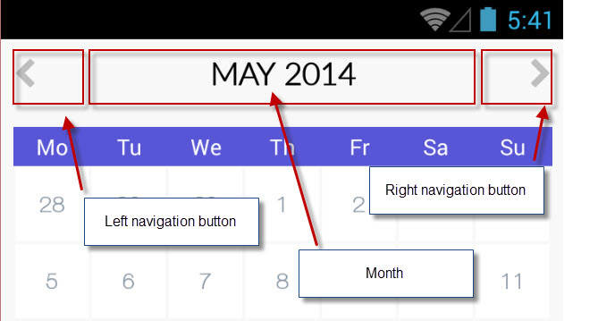 Mobile navigation for calendar: how to align 3 elements